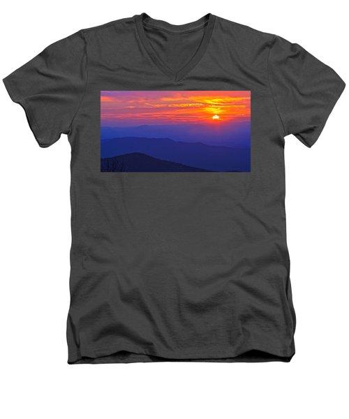 Blue Ridge Parkway Sunset, Va Men's V-Neck T-Shirt by The American Shutterbug Society