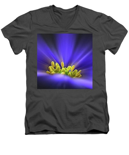 blue Shades - An Anemone Blanda Men's V-Neck T-Shirt by John Edwards