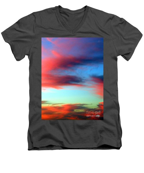 Men's V-Neck T-Shirt featuring the photograph Blushed Sky by Linda Hollis