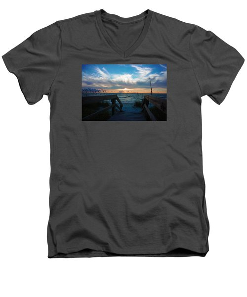 Men's V-Neck T-Shirt featuring the photograph Boardwalk At Delnor-wiggins Pass State Park by Robb Stan