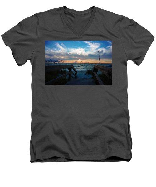 Boardwalk At Delnor-wiggins Pass State Park Men's V-Neck T-Shirt