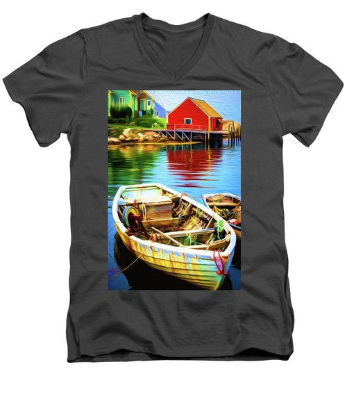 Boats Men's V-Neck T-Shirt by Andre Faubert