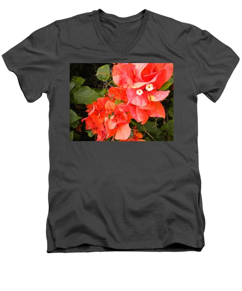 Men's V-Neck T-Shirt featuring the painting Bouganvilla 1 by Renate Nadi Wesley