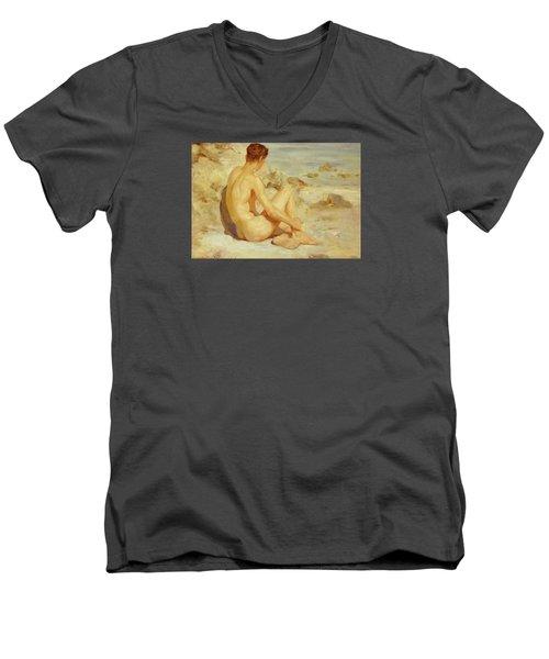 Boy On A Beach Men's V-Neck T-Shirt by Henry Scott Tuke
