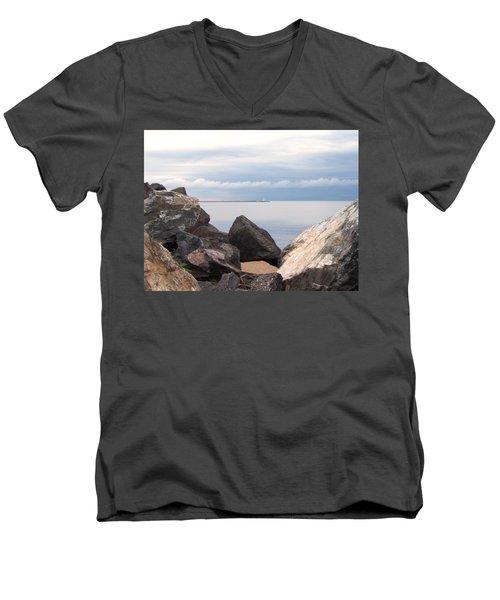 Break Wall On Lake Superior Men's V-Neck T-Shirt