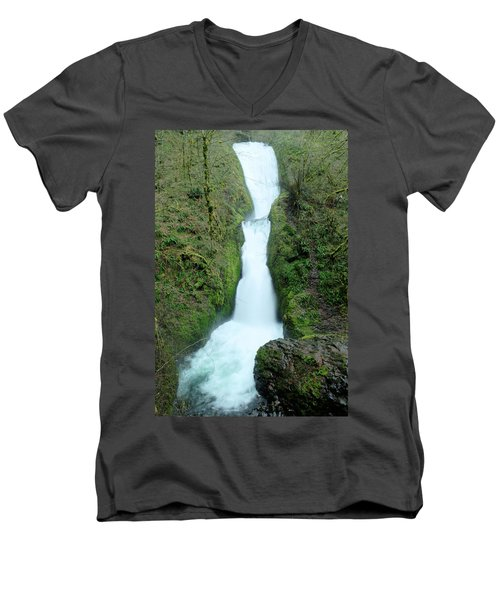 Men's V-Neck T-Shirt featuring the photograph Bridal Veil Falls by Jeff Swan