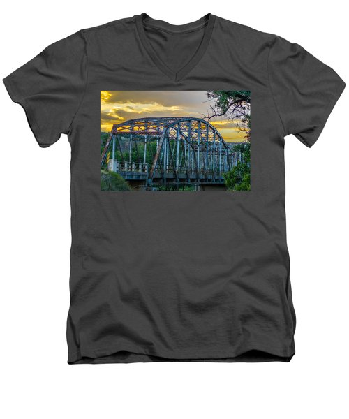 Men's V-Neck T-Shirt featuring the photograph Bridge by Jerry Cahill