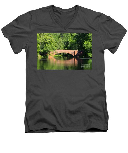 Bridge Reflection In The Spring Men's V-Neck T-Shirt