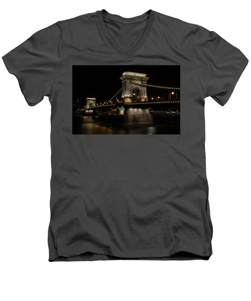 Men's V-Neck T-Shirt featuring the photograph Budapest At Night. by Jaroslaw Blaminsky