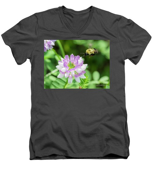 Bumble Bee Pollinating A Flower Men's V-Neck T-Shirt by Ricky L Jones