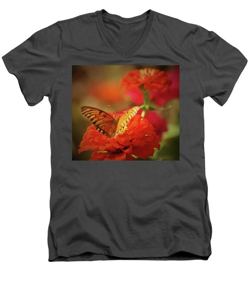 Butterfly And Flower II Men's V-Neck T-Shirt by Donna G Smith
