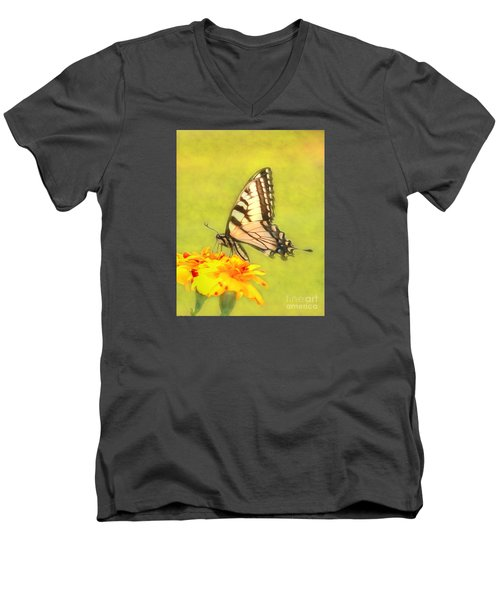 Butterfly Men's V-Neck T-Shirt by Marion Johnson