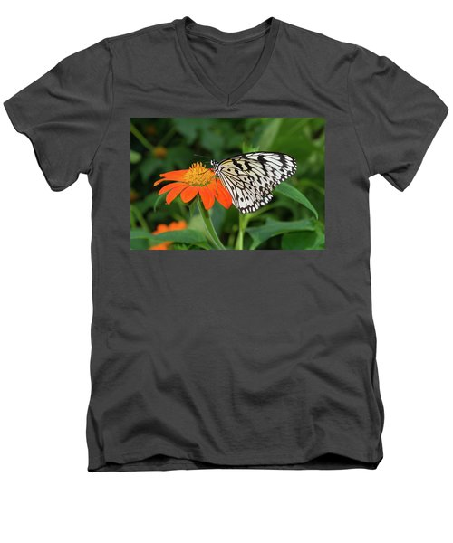 Butterfly On Flower Men's V-Neck T-Shirt by Hans Engbers