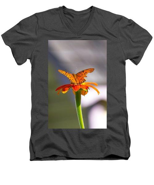 Butterfly On Flower Men's V-Neck T-Shirt