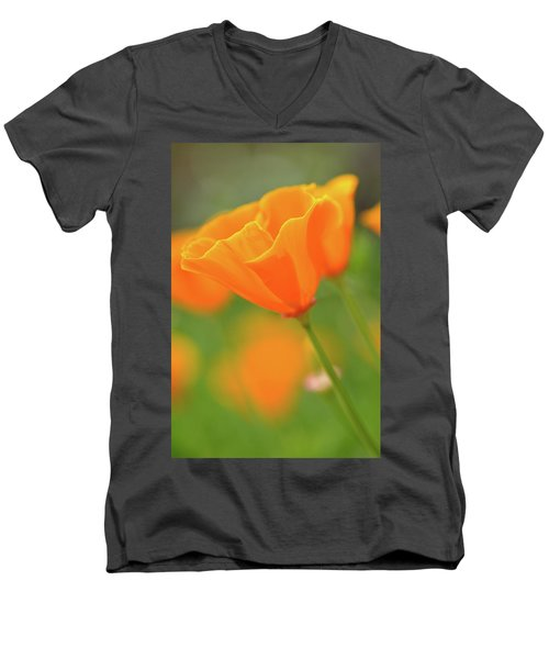 California Spring Poppy Macro Close Up Men's V-Neck T-Shirt
