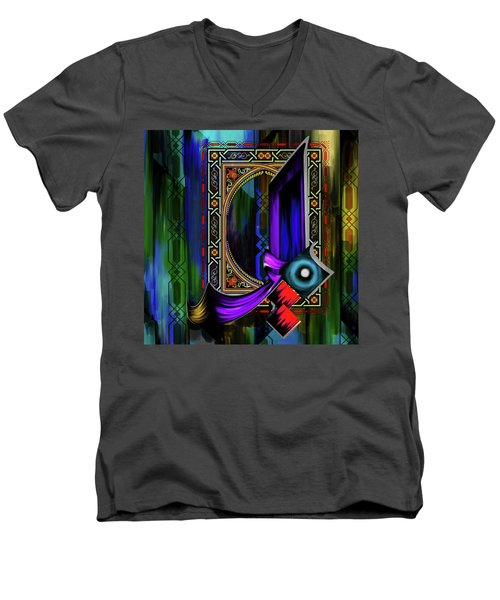 Men's V-Neck T-Shirt featuring the painting Calligraphy 100 1 by Mawra Tahreem