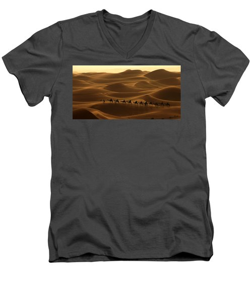 Camel Caravan In The Erg Chebbi Southern Morocco Men's V-Neck T-Shirt by Ralph A  Ledergerber-Photography