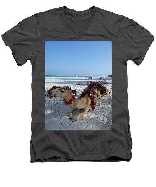 Camel On Beach Kenya Wedding Men's V-Neck T-Shirt