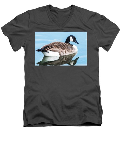 Canada Geese In Spring Men's V-Neck T-Shirt by Edward Peterson
