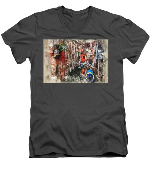 Canal In Venice Men's V-Neck T-Shirt