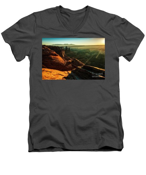 Canyon Sunbeams Men's V-Neck T-Shirt by Kristal Kraft