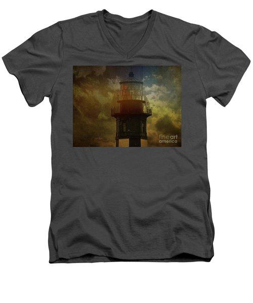 Cape Henry Lighthouse Men's V-Neck T-Shirt by Melissa Messick
