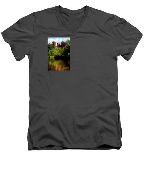 Men's V-Neck T-Shirt featuring the photograph Cathedral Rock by Ivete Basso Photography