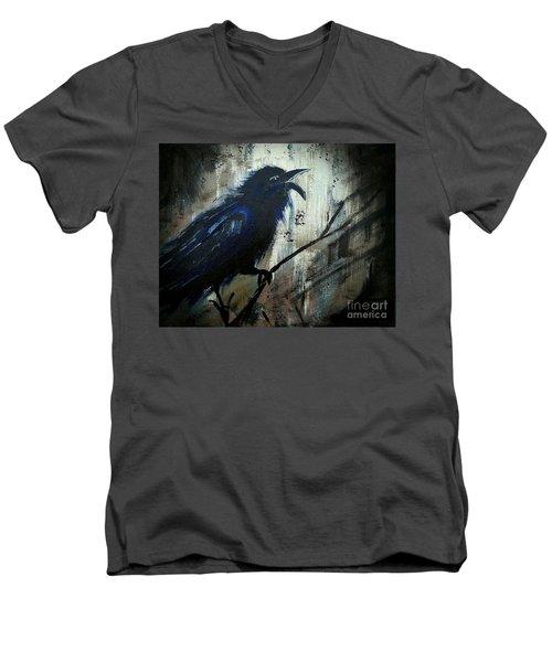 Cawing The Storm Men's V-Neck T-Shirt by Scott D Van Osdol