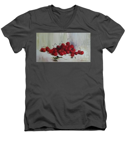 Men's V-Neck T-Shirt featuring the painting Cherries by Elena Oleniuc