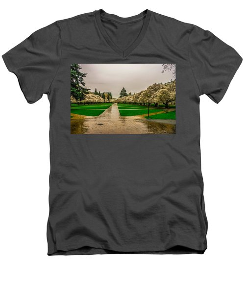 Men's V-Neck T-Shirt featuring the photograph Cherry Blossoms by Jerry Cahill