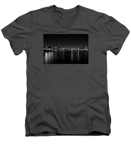 Men's V-Neck T-Shirt featuring the photograph Chicago-skyline 2 Bw by Richard Zentner