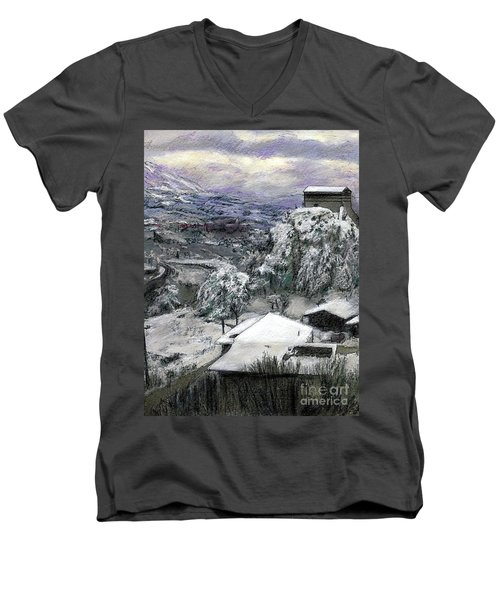 Chiesa San Vito In The Snow Men's V-Neck T-Shirt