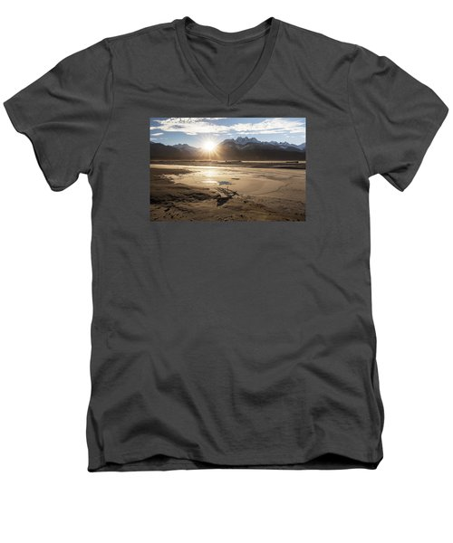 Chilkat River Sunset Men's V-Neck T-Shirt by Michele Cornelius