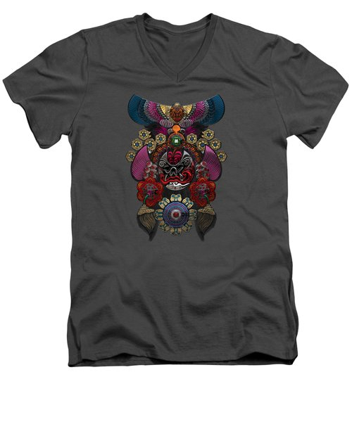 Chinese Masks - Large Masks Series - The Demon Men's V-Neck T-Shirt by Serge Averbukh
