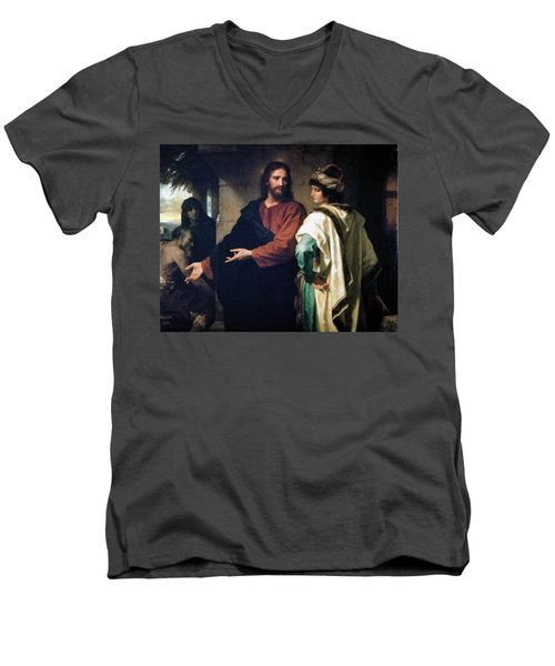 Christ And The Rich Young Ruler Men's V-Neck T-Shirt
