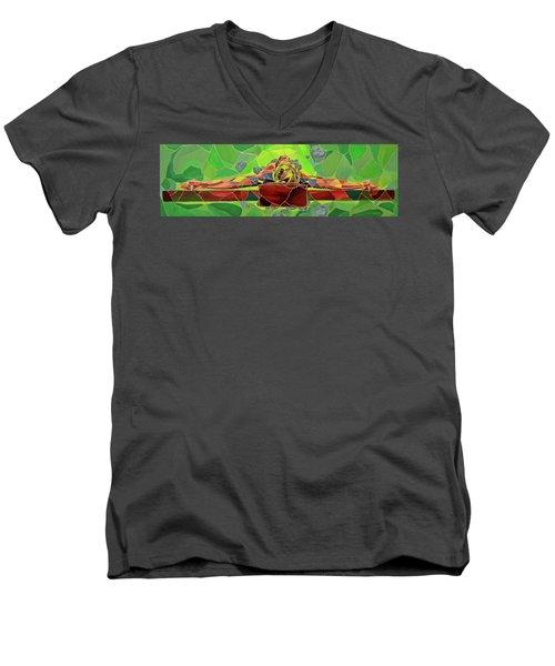 Christ In Stained Glass Men's V-Neck T-Shirt