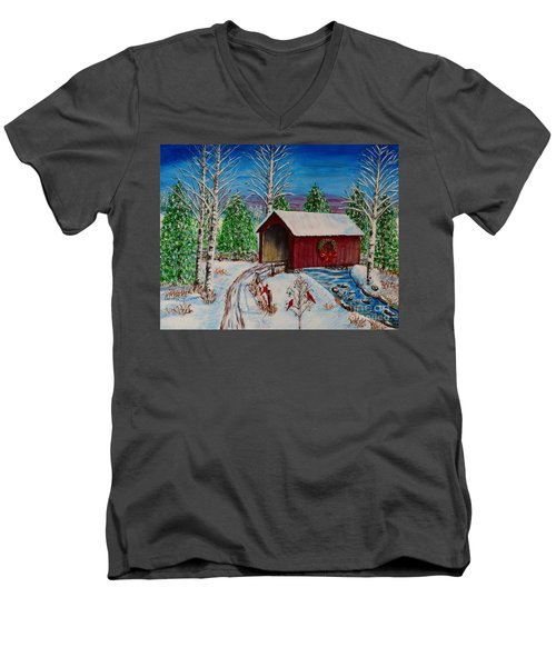 Men's V-Neck T-Shirt featuring the painting Christmas Bridge by Melvin Turner