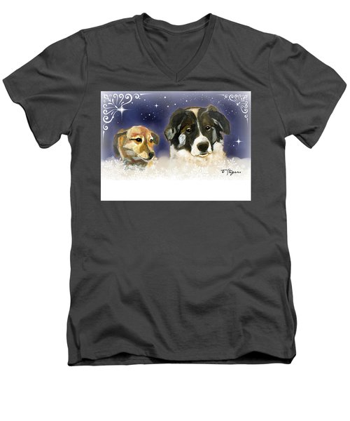 Christmas Doggies Men's V-Neck T-Shirt