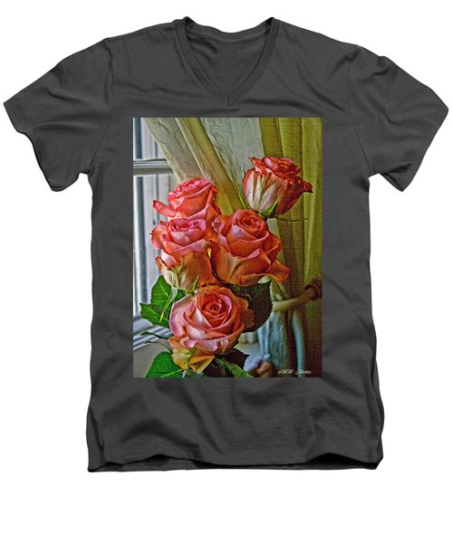 Men's V-Neck T-Shirt featuring the photograph Cindy's Roses by Bonnie Willis