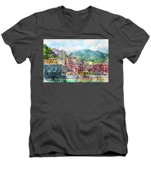 Cinque Terre Italy Men's V-Neck T-Shirt