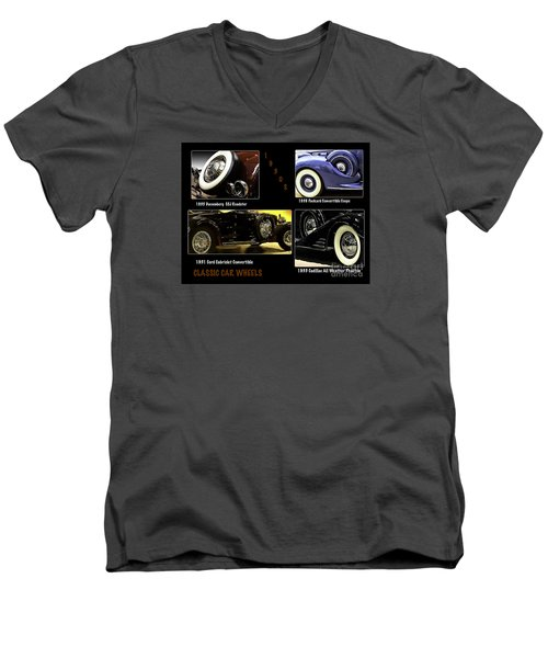 Men's V-Neck T-Shirt featuring the photograph Classic Car Wheels by Nancy Marie Ricketts