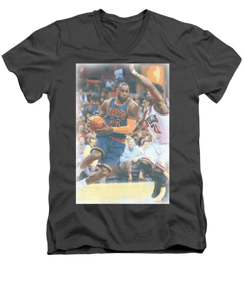 Cleveland Cavaliers Lebron James 2 Men's V-Neck T-Shirt by Joe Hamilton