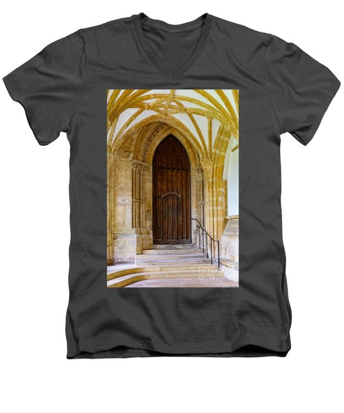 Men's V-Neck T-Shirt featuring the photograph Cloisters, Wells Cathedral by Colin Rayner