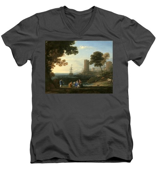 Coast View With The Abduction Of Europa Men's V-Neck T-Shirt