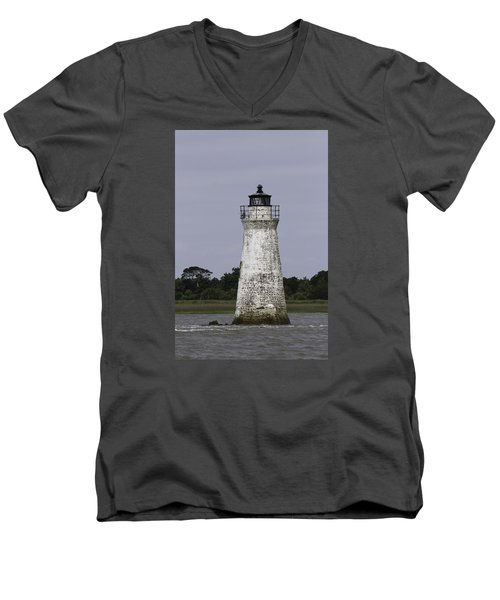 Cockspur Lighthouse Men's V-Neck T-Shirt by Elizabeth Eldridge