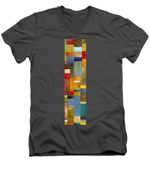 Color Panels With Blue Sky Men's V-Neck T-Shirt