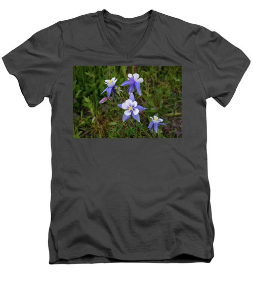 Men's V-Neck T-Shirt featuring the photograph Colorado Columbine by Steve Stuller