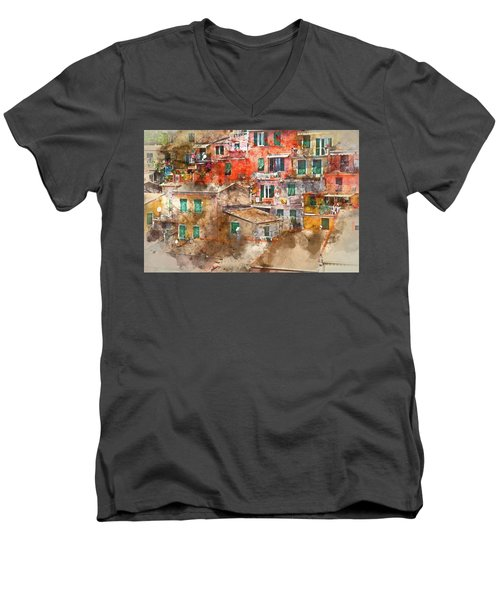 Colorful Homes In Cinque Terre Italy Men's V-Neck T-Shirt