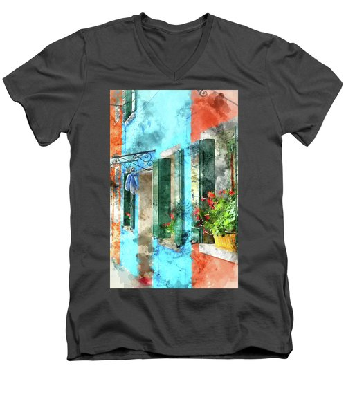 Colorful Houses In Burano Island Venice Italy Men's V-Neck T-Shirt