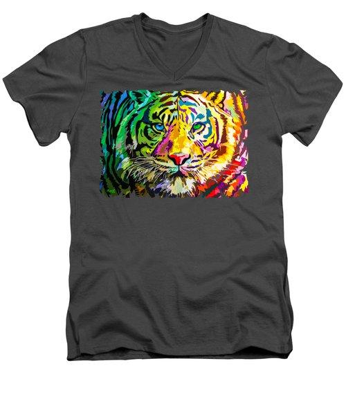 Colorful Tiger Men's V-Neck T-Shirt